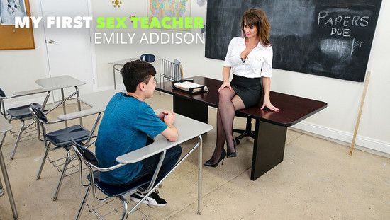 [MyFirstSexTeacher] Emily Addison – Ms. Miller teaches her student how to FUCK women properly
